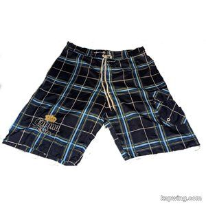 Corona Extra Blue Plaid Embroidered Board Shorts